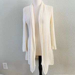 Anthro Angel of the North crochet long cardigan S